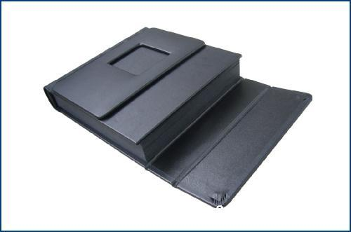 Black Adhesive Book Cover : Black leather magnet self adhesive photo album