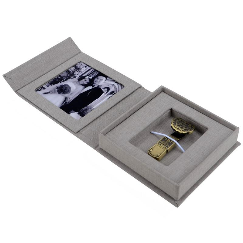 linen USB drive box wedding